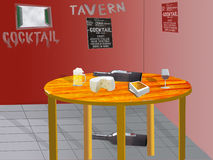 Illustration of the interior of a tavern. With a table with beer wine and cheese Stock Photos