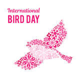 Illustration for International Bird Day. Space for text. Space for text. It can be used for decoration greetings, invitations, advertising banner, poster Royalty Free Stock Photos