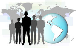 Illustration of international business people with earth Royalty Free Stock Photography