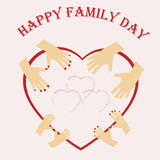 Illustration of International day of Families. Happy family, mom dad and their children, boy and girl Stock Photos