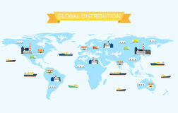 Illustration of international distribution on the world map with Plants, Transportation Warehouses, Stores Stock Photo