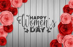 International Happy Women`s Day greeting card with roses flower on wooden texture background. Illustration of International Happy Women`s Day greeting card with Stock Photo