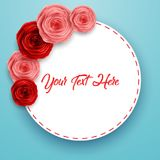 International Happy Women`s Day greeting card with roses flowers and round frame space for text on blue background. Illustration of International Happy Women`s stock illustration