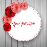 International Happy Women`s Day greeting card with roses flowers and round frame space for text on wooden background. Illustration of International Happy Women`s Stock Images