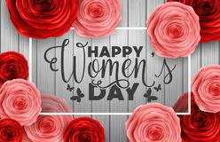 International Happy Women`s Day greeting card with roses flowers on wooden background. Illustration of International Happy Women`s Day greeting card with roses Royalty Free Stock Photos