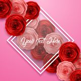 International Happy Women`s Day. Paper cut roses flower on pink background with frame and space for text. Illustration of International Happy Women`s Day. Paper Royalty Free Stock Photos