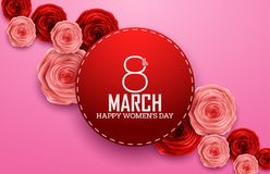 International Happy Women`s Day with roses flower and red round sign on pink background. Illustration of International Happy Women`s Day with roses flower and Royalty Free Stock Images