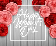 International Happy Women`s Day. Square Frame Luxury for space for text on wood background. Illustration of International Happy Women`s Day. Square Frame Luxury Stock Photo