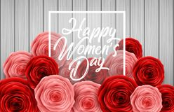 International Happy Women`s Day with square frame and roses flower on wooden background. Illustration of International Happy Women`s Day with square frame and Stock Photo