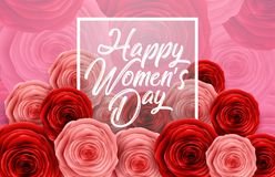 International Happy Women`s Day with square frame and roses on flowers pattern background. Illustration of International Happy Women`s Day with square frame and royalty free illustration