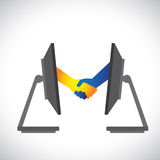 Illustration of internet deals, partnerships. Concept illustration of internet deals, partnerships, business, etc., shown by handshake between two people from Stock Images