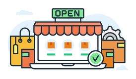 Illustration about internet store and goods. Stock Photography