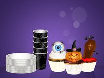 Invitation for Halloween party with muffins Royalty Free Stock Photos
