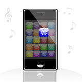 Illustration of iphone music Stock Images