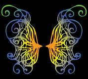Illustration. Iridescent wings of a butterfly on a black backgro Stock Images