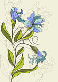 Illustration with Iris flowers. Universal template for greeting card, web page, background Stock Photography
