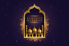 Illustration islamique moderne de carte d'Eid Mubarak Wide Background Banner And Photo stock