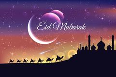 Illustration islamique moderne de carte d'Eid Mubarak Wide Background Banner And illustration de vecteur