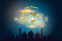 Illustration islamique moderne de carte d'Eid Mubarak Wide Background Banner And Photographie stock
