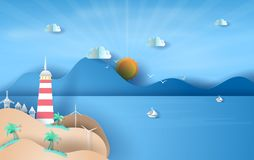 Illustration of Island with lighthouse on sea view sunlight blue sky,Summer time season concept,Boat floating in the sea on blue. Sky.Graphic design Seaside stock illustration