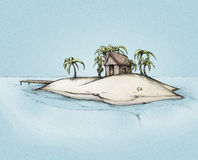Illustration of an Island with a little house. Illustration of a lonely island with a little wooden house in the caribbean sea Royalty Free Stock Photos