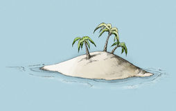 Illustration of an Island. Illustration of a lonely island in the caribbean sea Stock Photography