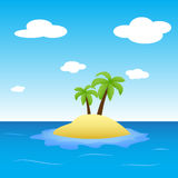 Illustration of island in the middle of ocean with two palm trees Stock Photos