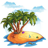 Illustration island with palm trees and treasures Royalty Free Stock Photo