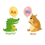 Illustration Isolated Alphabet Letter A-alligator,B-bear Stock Photo