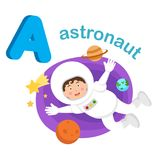Illustration Isolated Alphabet Letter A Astronaut. Vector Royalty Free Stock Image