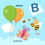 Illustration Isolated Alphabet Letter B-balloon,bee,butterfly. Vector royalty free illustration