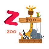 Illustration Isolated Alphabet Letter Z Zoo. Vector royalty free illustration
