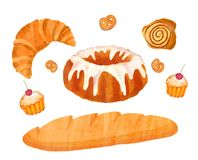 Illustration with isolated baked products. Royalty Free Stock Image