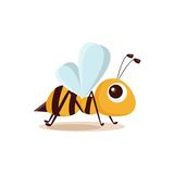 Illustration of isolated cartoon bee. On white background Royalty Free Stock Photo