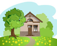 Illustration of isolated cartoon house Royalty Free Stock Images