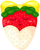 Cartoon strawberry with chocolate Royalty Free Stock Photo