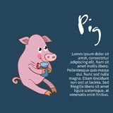 Illustration of an isolated character pig Royalty Free Stock Photo