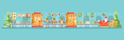 Illustration of isolated Christmas conveyor with elves pack gifts near the spruce tree festively dressed up, flat style Royalty Free Stock Images