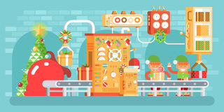 Illustration of isolated Christmas conveyor with elves pack gifts near the spruce tree festively dressed up, flat style Stock Photos