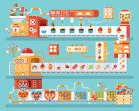 Illustration of isolated conveyor for production and packaging candies, lollipops  sweets, in flat style Royalty Free Stock Images
