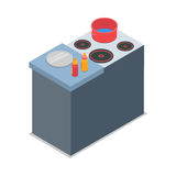 Illustration of Isolated Cooker with Red Round Pot Stock Image