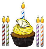 Cupcake and candles Royalty Free Stock Photos