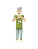 Illustration isolated of European blonde man in sports shirt and sweatpants, boy with smartphone in hand. Stock illustration isolated of European blonde man in royalty free illustration