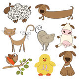 Illustration of isolated farm animals set Royalty Free Stock Image