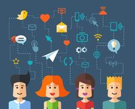 Illustration of isolated flat design people social Stock Image