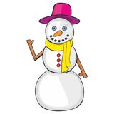 Illustration of isolated funny snowman Royalty Free Stock Photos