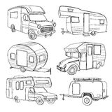 Illustration of isolated Hand Drawn, doodle Camper, car  Stock Image