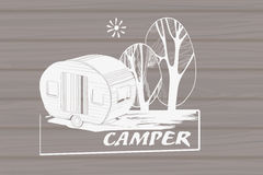 Illustration of isolated Hand Drawn, doodle Camper Royalty Free Stock Photo