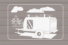 Illustration of isolated Hand Drawn, doodle Camper Stock Images