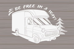 Illustration of isolated Hand Drawn, doodle Camper Royalty Free Stock Photography